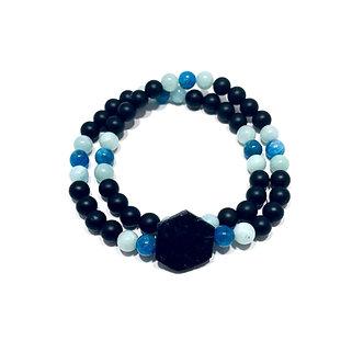 Black Tourmaline, Amazonite, Apatite and Onyx Double Wrap Bracelet