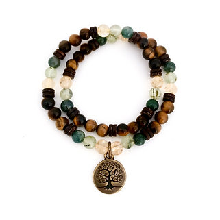 Citrine, Prehnite, Moss Agate, Coconut Wood and Tigers Eye Double Wrap Bracelet