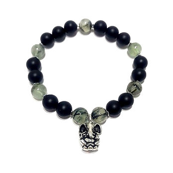Prehnite, Onyx and Hematite Bracelet with Ganesha Charm