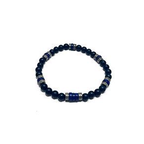 Lapis Lazuli, Pyrite and Onyx Bracelet