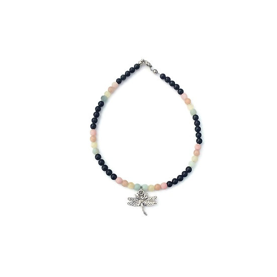 Amazonite, Yellow Calcite, Peach Moonstone, Pink Opal and Onyx Anklet
