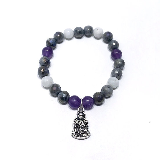 Amethyst, Rainbow and Mystic Norwegian Moonstone Bracelet with Buddha Charm