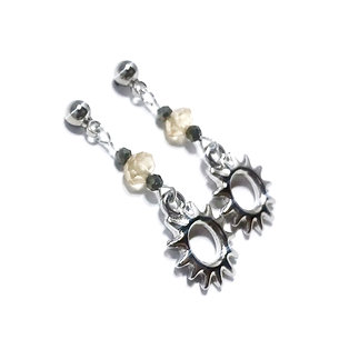 Citrine and Pyrite Sun Post Earrings