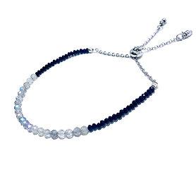 Faceted Labradorite and Black Spinel Adjustable Mini Gemstone Bracelet