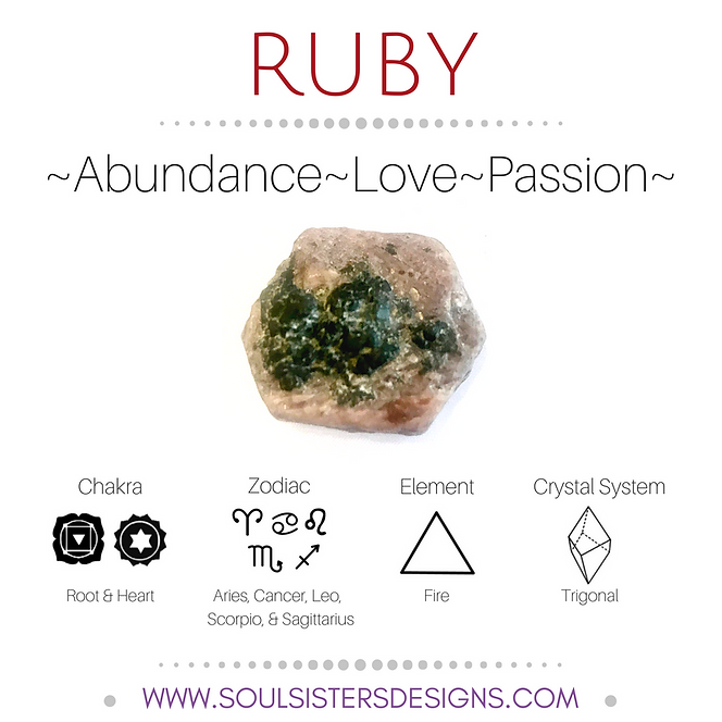 Metaphysical Healing Properties for Ruby by Soul Sisters Designs