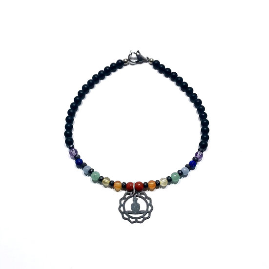 7 Chakra Anklet with Black Onyx, Hematite and a Crown Chakra Charm
