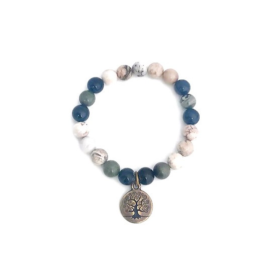 Dumortierite, Rainforest Jasper and Dendritic Agate Bracelet with Tree of Life