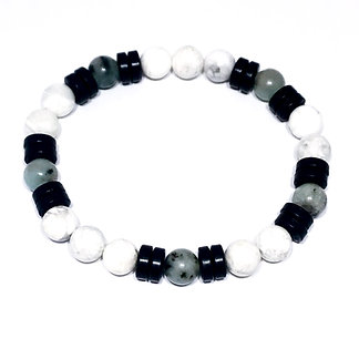 Kiwi Jasper, Howlite and Black Coconut Wood Bracelet