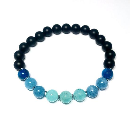 Amazonite, Aquamarine, Apatite, Hematite and Onyx Bracelet