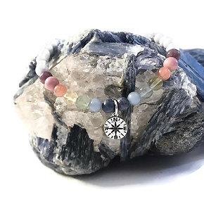 Coral, Angelite, Green & Yellow Fluorite, Sunstone, Rhodonite, Lepidolite Anklet
