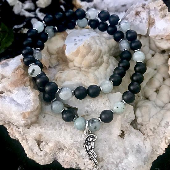 Kiwi Jasper, Hematite and Onyx Double Wrap Bracelet with Angel Wing Charm