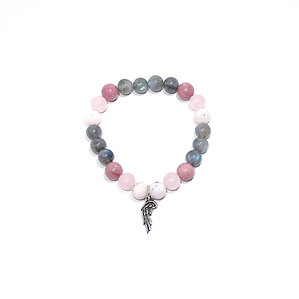 Pink Opal, Rose Quartz, Rhodonite and Labradorite Bracelet with Angel Wing Charm