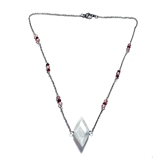 Strawberry Quartz and Garnet Necklace with Diamond Moonstone Pendant