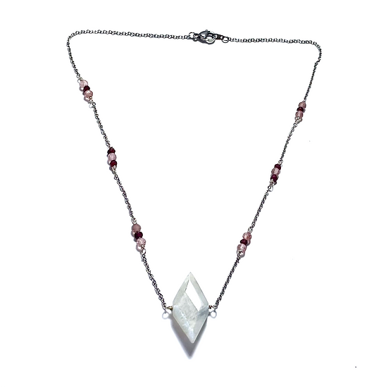 Strawberry Quartz and Garnet Necklace with Diamond Moonstone Pendant