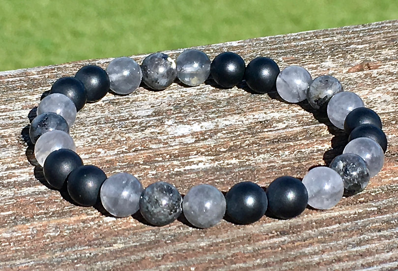 Matte Black Onyx, Norwegian Moonstone & Gray Smokey Quartz Bracelet