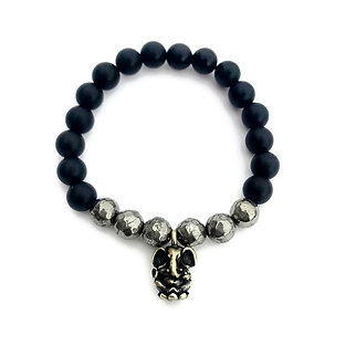 Faceted Pyrite and Matte Black Onyx Bracelet with Ganesha Charm