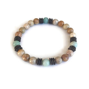 Amazonite, Agatized Coral and Coconut Shell Bracelet