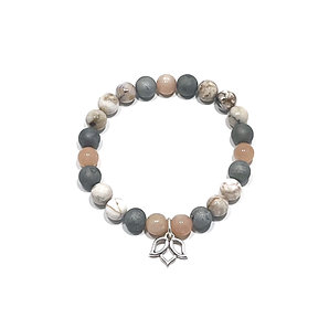Sunstone, Silver Druzy Agate and Dendritic Agate Bracelet with Lotus Charm