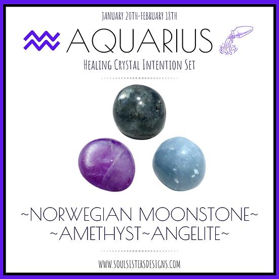 Aquarius Healing Crystal Intention Set
