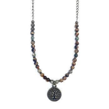 Rainforest Rhyolite, Tigers Eye and Hematite Beaded Necklace with Tree of Life