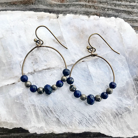 Lapis Lazuli and Pyrite Hoop Earrings