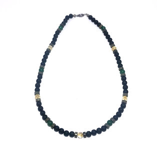 Men's Abundance Necklace with Citrine, Green Aventurine, Pyrite and Onyx