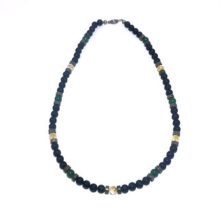 Men's Abundance Necklace with Citrine, Green Aventurine, Pyrite and Onyx