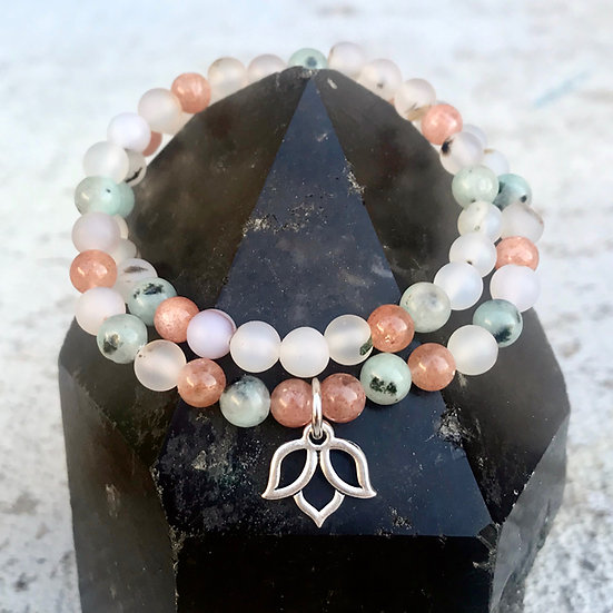 Montana Agate, Kiwi Jasper and Sunstone Double Wrap Bracelet with Lotus Charm