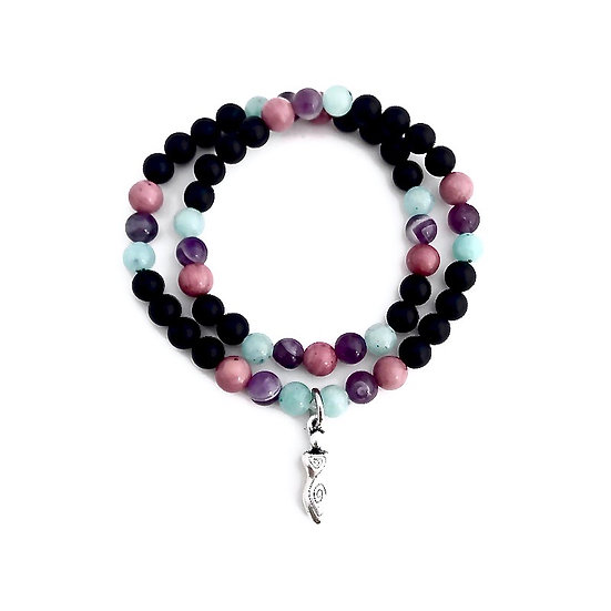 Amazonite, Amethyst, Rhodonite and Onyx Double Wrap with Spiral Goddess Charm