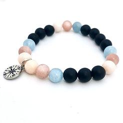 Pink Opal, Sunstone, Aquamarine and Onyx Bracelet with Compass Charm