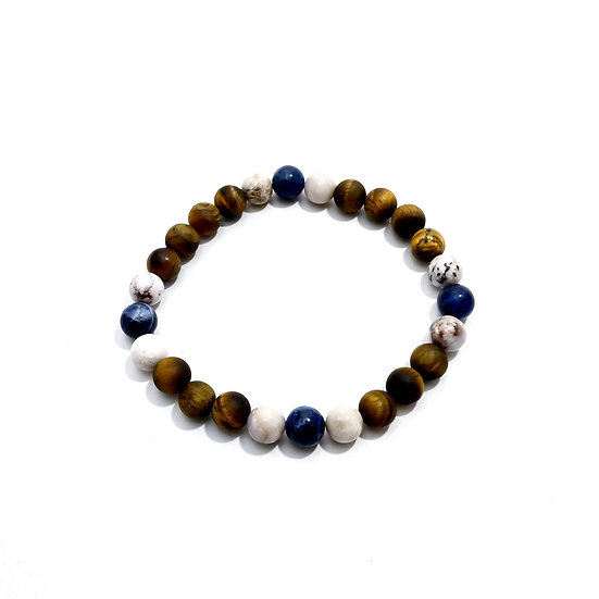 Sunset Dumortierite, Smoky Dendritic Agate and Tigers Eye Bracelet