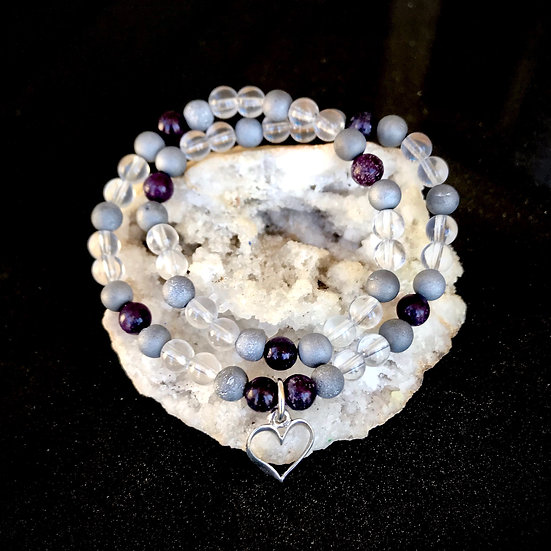 Dark Purple Lepidolite, Silver Druzy Agate and Quartz Double Wrap Bracelet