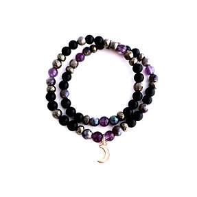 Amethyst, Mystic Norwegian Moonstone, Pyrite and Onyx Double Wrap Bracelet