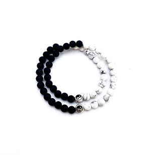 Yin Yang Double Wrap Bracelet with Howlite and Onyx