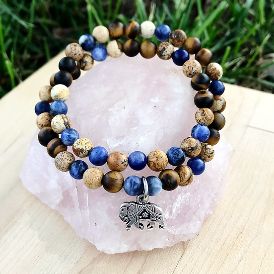 Sodalite, Matte Tigers Eye and Picture Jasper with Elephant Charm Double Wrap