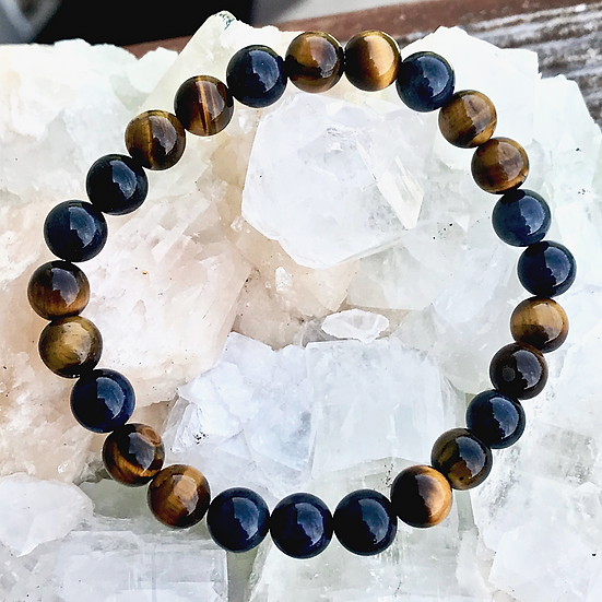 Dumortierite and Tigers Eye Men's Bracelet