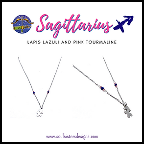 Sagittarius Zodiac Necklace with Lapis Lazuli and Pink Tourmaline