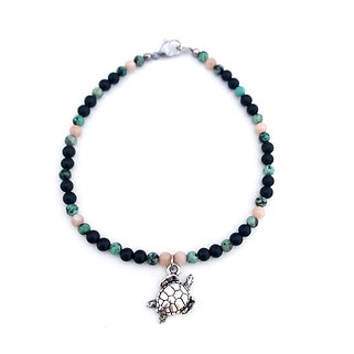 Sunstone, African Turquoise and Onyx Anklet with Sea Turtle Charm