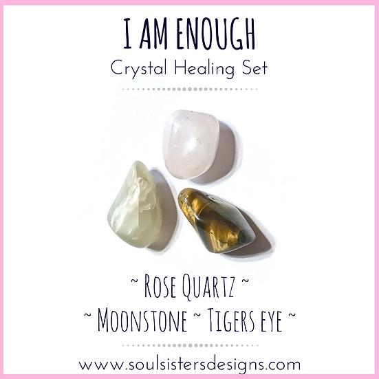 I AM ENOUGH Healing Crystal Tumbled Stone Set