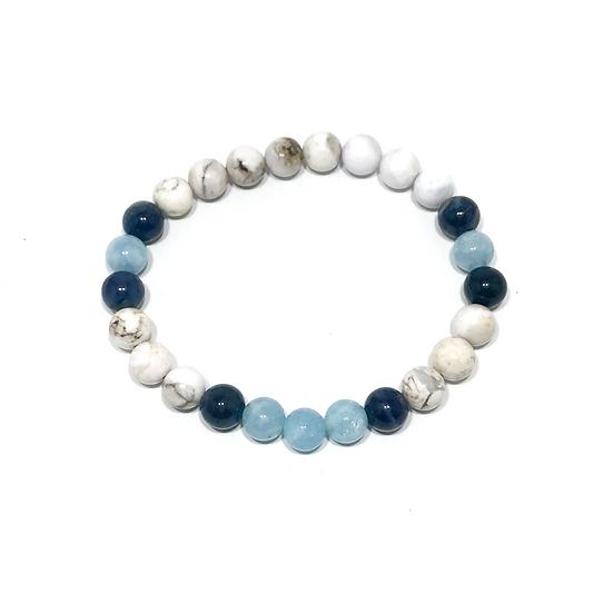 Aquamarine, Dumortierite and Smoky Dendritic Agate Bracelet
