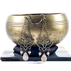 Peach Moonstone Lotus Dangle Earrings