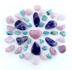 Healing Crystal Grid desiged by SSD with Amethyst, Rose Quartz and Rough Amazonie