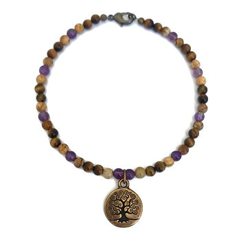 Amethyst, Picture Jasper and Tigers Eye Anklet with Tree of Life Charm