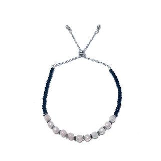 Mystic Rose Quartz and Black Spinel Adjustable Mini Gemstone Bracelet