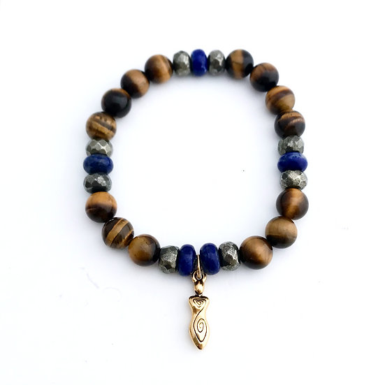 Lapis Lazuli, Pyrite and Tigers Eye Bracelet with Spiral Goddess Charm