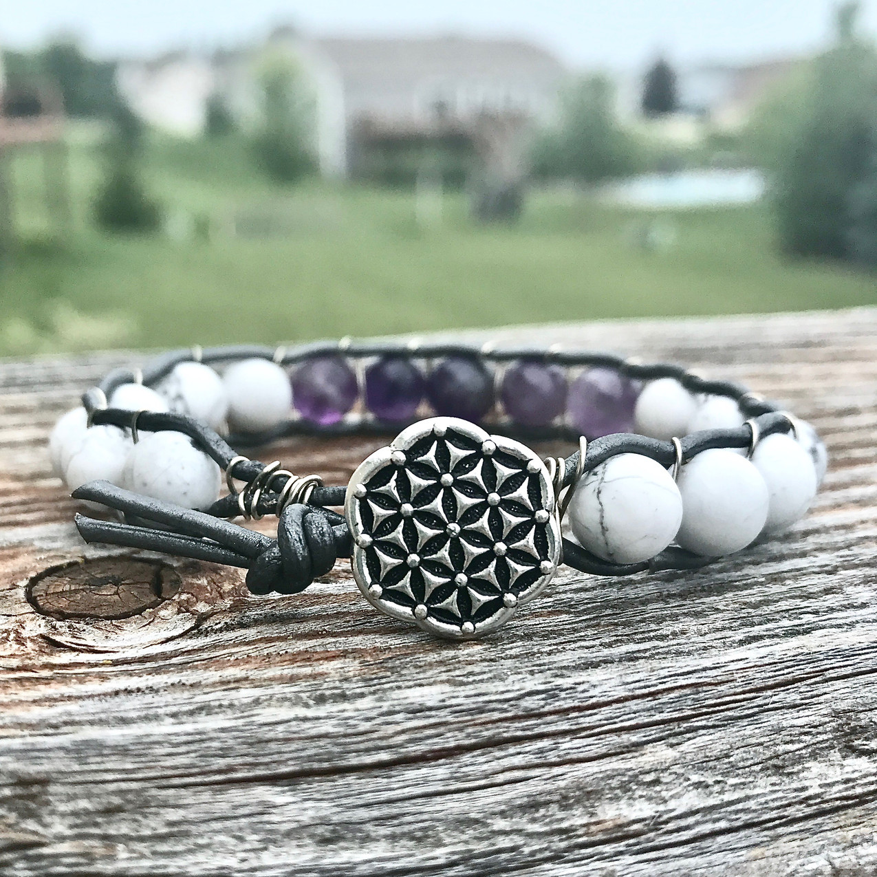 Air Element Healing Crystal Leather Wrap Bracelet with Amethyst and Howlite
