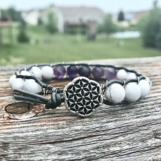 Air Element Leather Wrap Bracelet with Howlite and Amethyst
