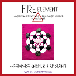 Fire Element Healing Crystal Grid Kit with Kambaba Jasper and Obsidian