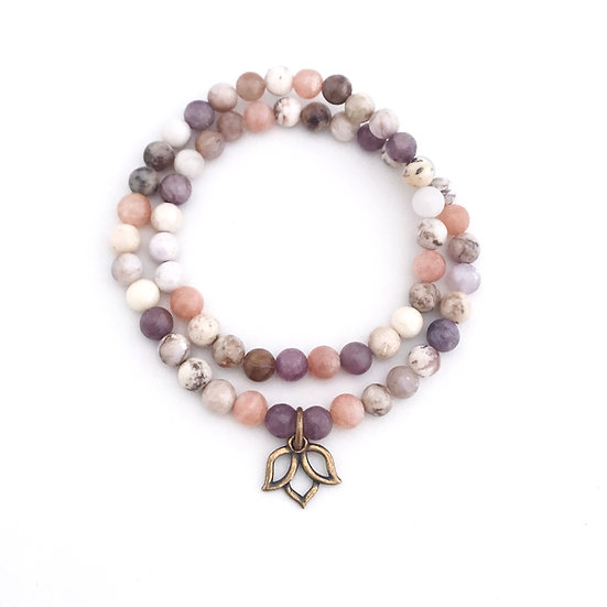 Lepidolite, Sunstone and Smoky Dendritic Agate Double Wrap Bracelet with Lotus