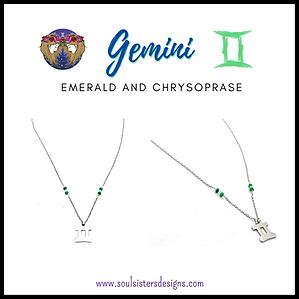 Gemini Zodiac Necklace with Emerald and Chrysoprase